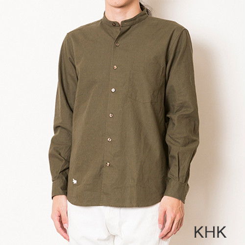 セカンド S&nd  C/L band collar shirt (KHK)
