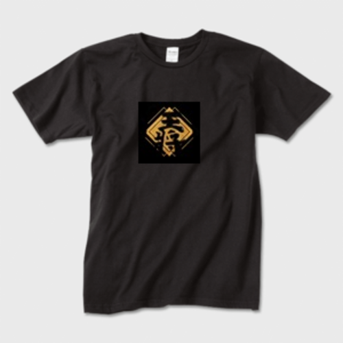 王将 Tシャツ 黒  表面 ガーメントインクジェット印刷