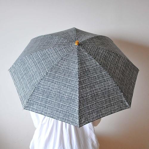Bon Bon Store 折傘(ドローイングチェック・ブラック)晴雨兼用