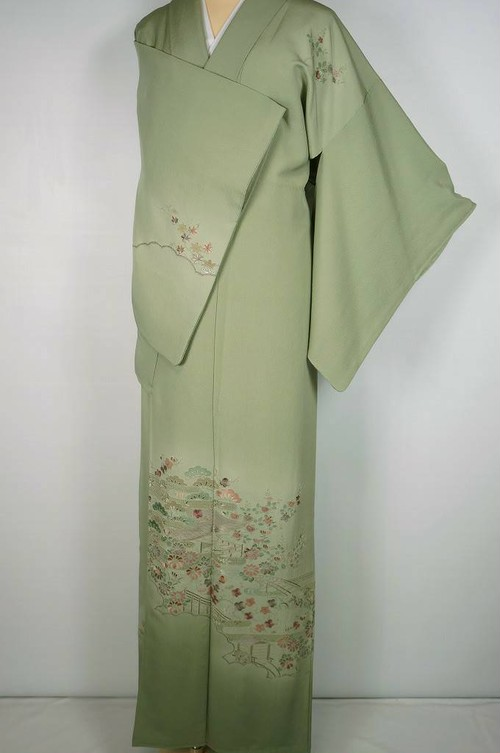 汕頭刺繍 茶屋辻 訪問着 一つ紋 正絹 柳染 黄緑 462