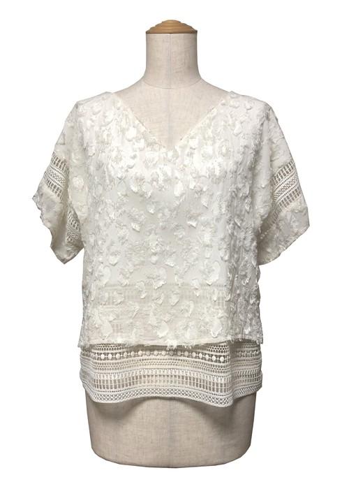 Short sleeve jacquard tops