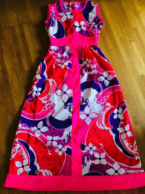 ハワイ製 ビンテージ NAPILI ハワイアン ドレス ワンピース ビビットカラー / HAWAII 70s 80s アロハ フラ