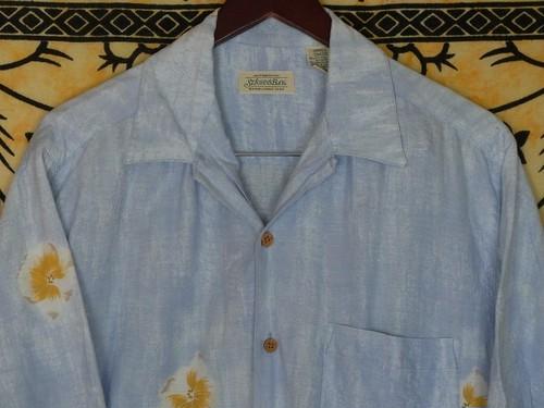 USA古着アロハシャツS水色STJOHN'S BAY絵画風 綿RAYON極美品