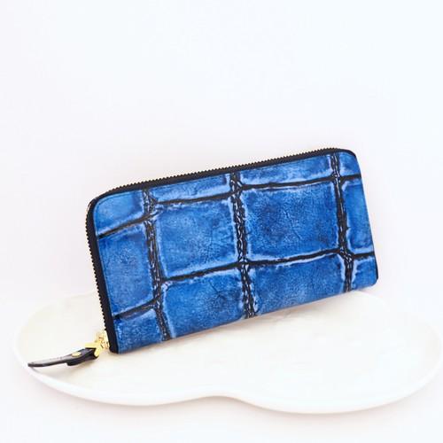 【VIA DOAN】ラージクロコ/ラウンド長財布/ブルー