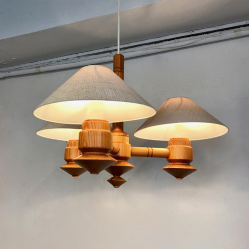 Pine Wood 3 Lights Pendant Lamp オランダ