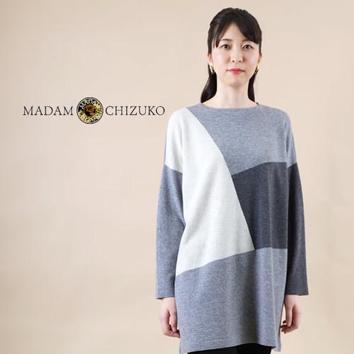 MADAM CHIZUKO / ブロック柄Bigシルエットチュニック / カシミヤ100%(イタリア糸使用)