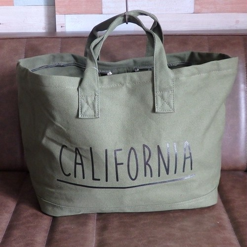 """CALIFORNIA"" canvas tote bag KAHKI        キャンバストートバッグ"