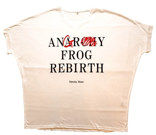 EGO TRIPPING × ANGRY FROG REBIRTH  White コラボビッグシルエットTシャツ