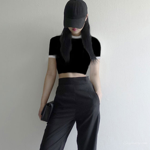 【トップス】韓国系ストレッチネオギャルコットン無地ショート丈半袖Tシャツ