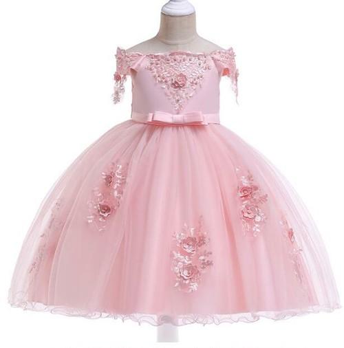 8490子供ドレス キッズドレス ベビー ジュニア 女の子ドレス フォーマルドレス パーティードレス 発表会 誕生日 ピンク 110cm-150cm
