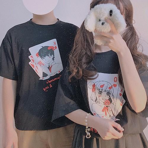 【トップス】日系少女トランプシンプルラウンドネックTシャツ