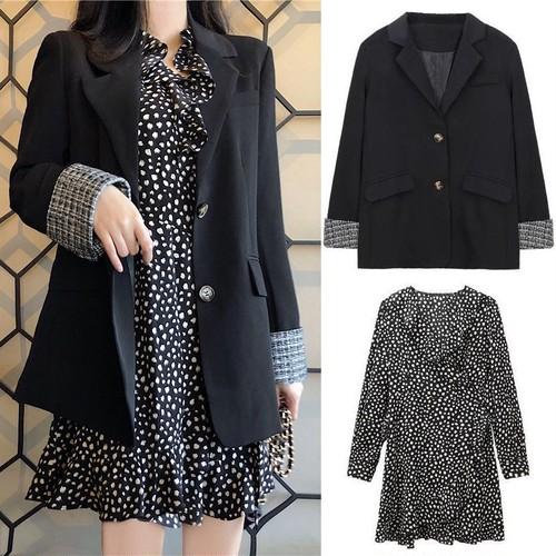 セットアップ テーラードジャケット + ワンピース 韓国ファッション レディース セット シングルボタン 袖折り返し 長袖 花びら柄 フリル ハイウエスト レトロ / Two-piece cufflink suit jacket and floral dress (DTC-610616885385)