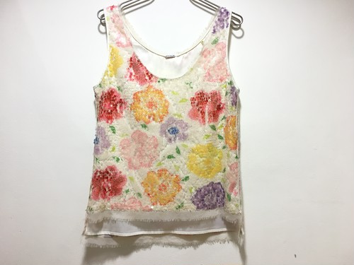 Flower spangle tank-top