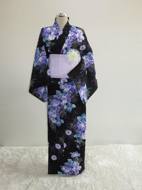 【販売】車椅子用浴衣 スカートタイプ34 Lサイズ(黒地 紫花)
