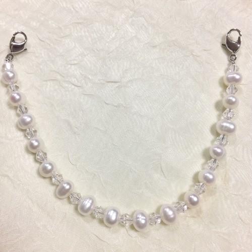 羽織紐 兼用 ブレスレット 淡水真珠 クリスタル 和小物