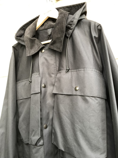"「BRACKETS」  ""Ventile"" fabric fishing jacket black color"