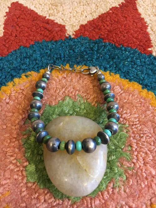 Navajo handmade silver & natural stone beads bracelet ②