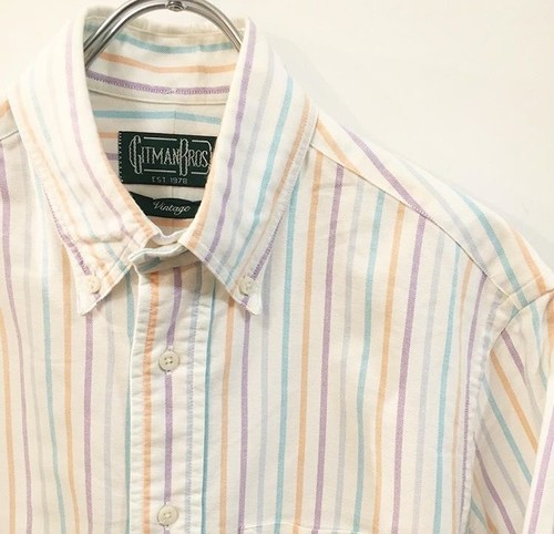 GITMAN BROS : oxford stripe B.D. shirt (used)