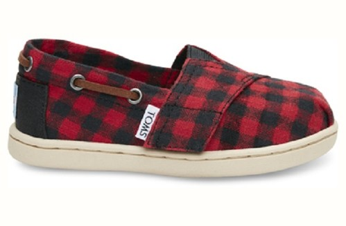 TOMS TINY RED BLACK BUFFALO PLAID BIMINIS
