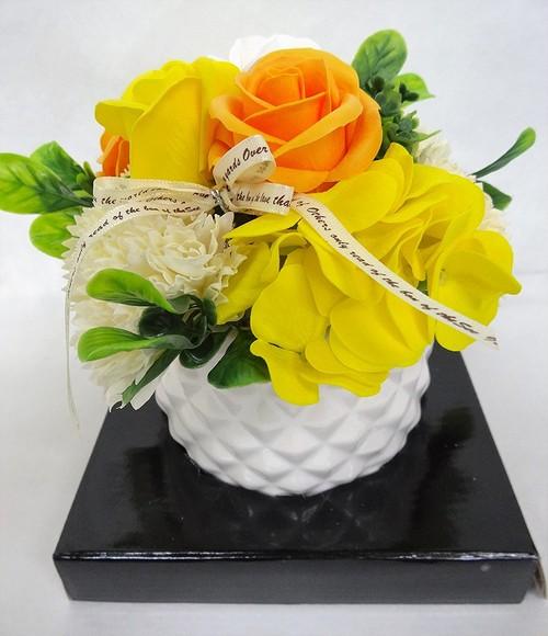【送料無料】102 花のhiro's japan フレグランスシャボンフラワー アレンジメント 陶器POT仕様 イエロー 102