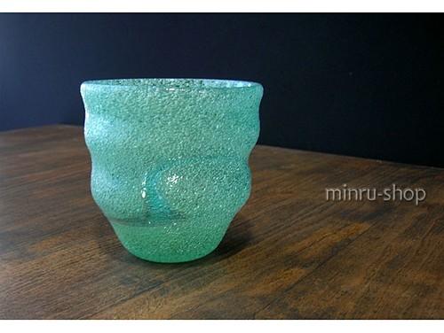 琉球ガラス グラス 泡波巻宙吹グラス スカイ-1 スカイブルーの空にそよぐ風 みんるー商店|稲嶺盛吉