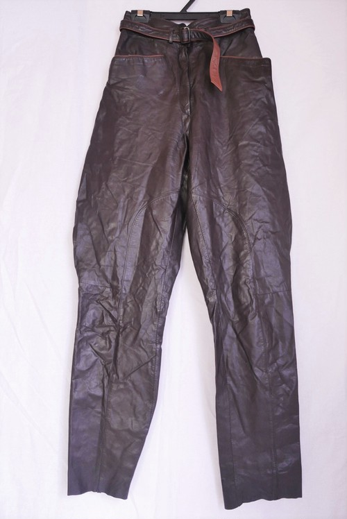 Brown Leather High Waist Pants