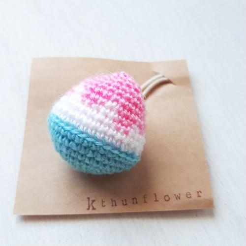 編み編みモチーフ☆かき氷ピーチゴム