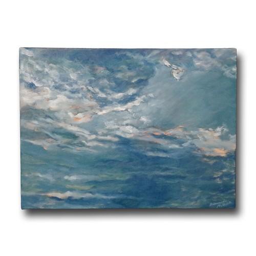 【購入後すぐに飾れる】【送料無料】『印象―秋の空―』F6号 油彩、ミクストメディア  絵画