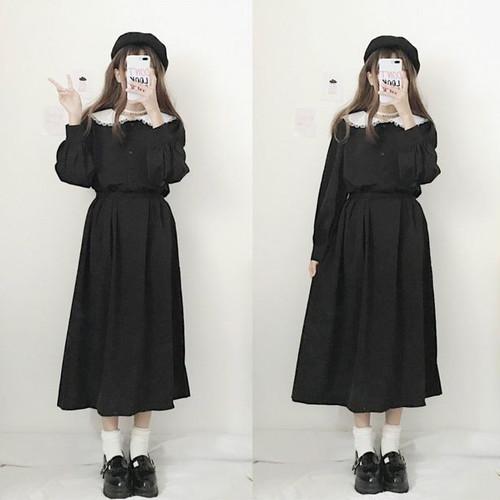 【ワンピース】春秋プルオーバーAライン折り襟ロングワンピース
