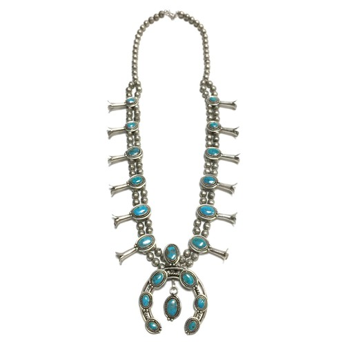 Navajo Vintage Naja Squash Blossom Turquoise Necklace