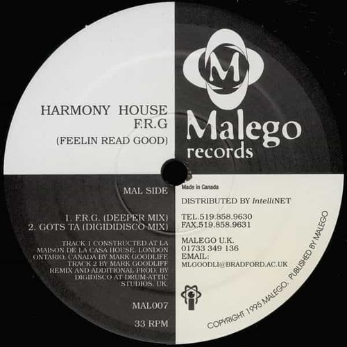 HARMONY HOUSE / F.R.G (Feelin Read Good) (12 inch)