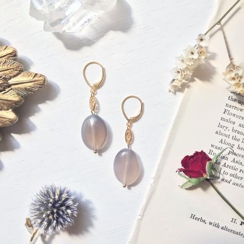 【ナチュリラ掲載】Gray agate earring