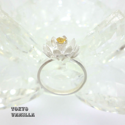 Lotus 蓮の花のリング - citrine silver -