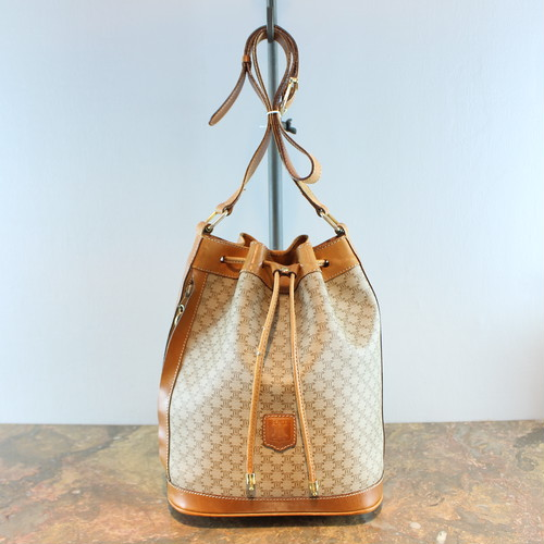 .OLD CELINE MACADAM PATTERNED DRAWSTRING SHOULDER BAG MADE IN ITALY/オールドセリーヌマカダム柄巾着型ショルダーバッグ 2000000035338