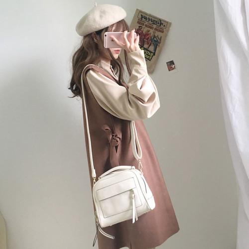 【送料無料】ガーリーコーデ♡ 秋冬カラー ボリューム袖ブラウス& リボン ワンピース 2点セット