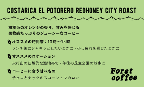 【豆500g】トップスペシャルティ CostaRica El Potorero RedHoney City Roast