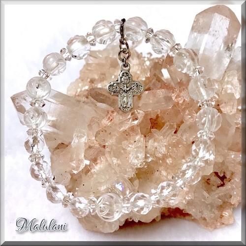 薔薇*水晶*ロザリオブレス*フォー・ウェイ・クロス*天然石