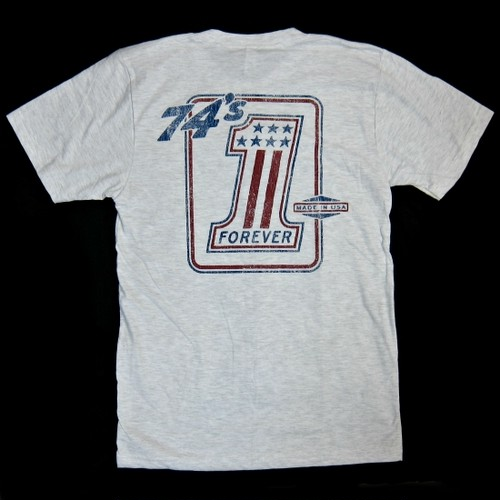 Lawrence Vintage Cycle 74's Forever #1 logo tee shirt, ash