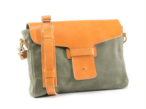 Christensen Satchel Bag (Olive Waxed Canvas,Wheat Leather)