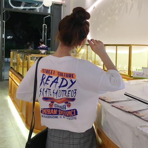 【トップス】ラウンドネックプルオーバーアルファベットTシャツ