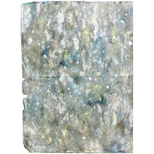 「無題」 古い紙にアクリル * 現代アート インテリア ヴィンテージ アンティーク 内野隆文 takafumiuchino