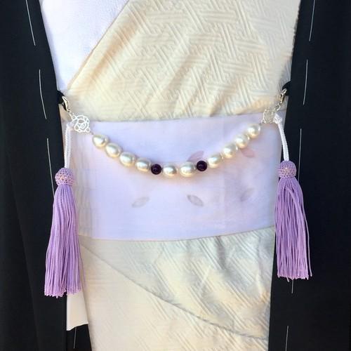 大粒真珠の羽織紐 正絹(藤色)ユニセックス 紳士用 2way 送料無料 オトナの和小物 着物男子