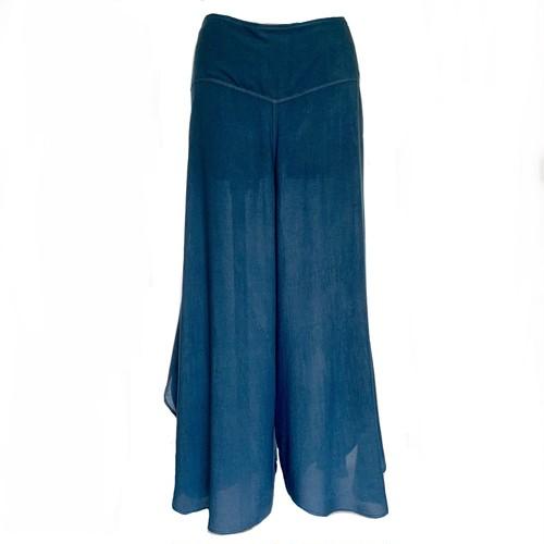 藍染め ワイドパンツ ライトブルー