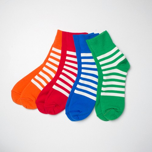 レディースソックス decka REVERSIBLE SOCKS PLAIN×STRIPS