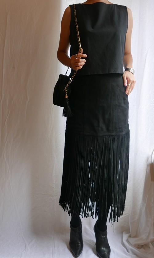 YSL rivegauche Suede Leather Fringed Skirt