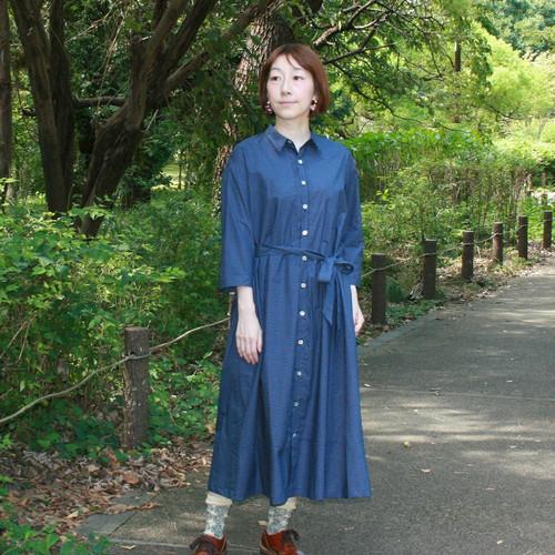 OP -249オーガニックコットン水玉プリントKotori刺繍 シャツワンピース