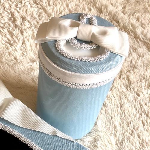 ウェットティッシュボックス*ロイヤルブルーxホワイトリボン