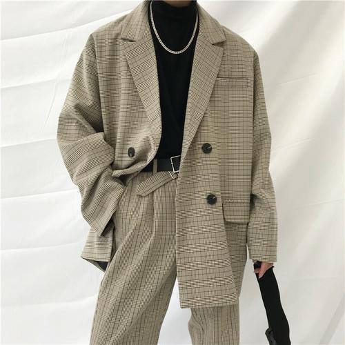 【げんじさん紹介商品】チェックビッグジャケット(セットアップ) BL4114
