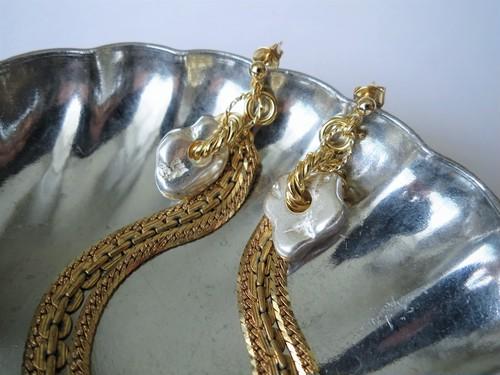2ウェイピアス シルバーナゲット&フリンジ vintage earrings fringe SV <PE7 -L19>