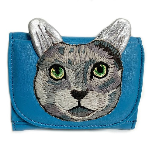 ねこミニ財布 gray cat/LIGHT BLUE